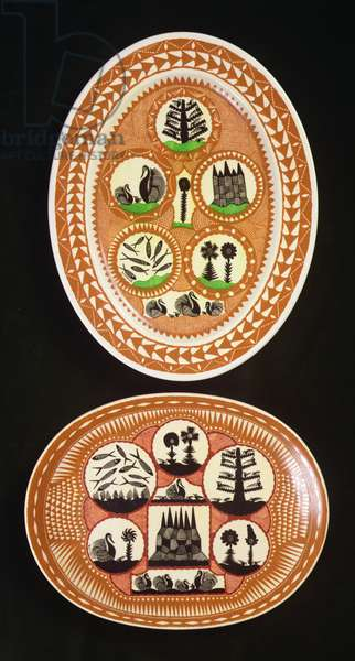 Two oval shaped dishes decorated with circular insets (ceramic)