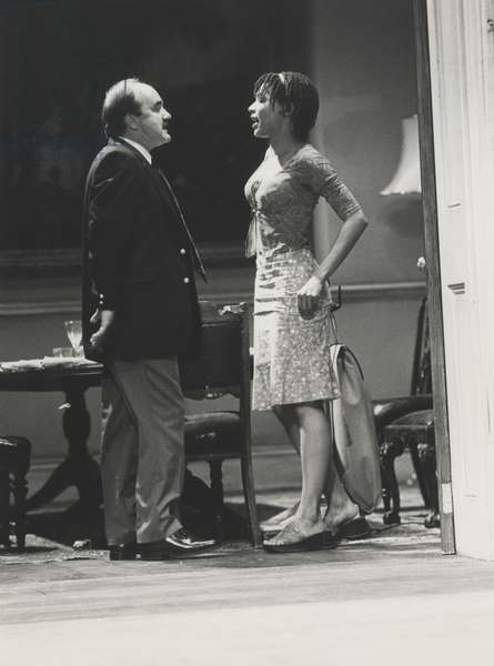 David Haig as Teddy Platt and Nina Sosanya as Pearl Truce in 'House & Garden' by Alan Ayckbourn, National Theatre, London, 2000 (b/w photo)