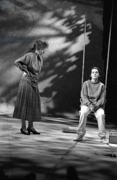 Shirley Henderson and Jane Gurnett in 'My Mother Said I Never Should', directed by Michael Attenborough, Royal Court Theatre, 1989 (b/w photo)