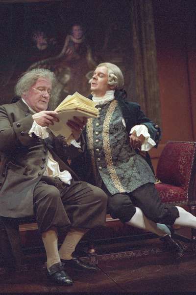Ian Redford and Jason Watkins in 'A Laughing Matter' by April de Angelis, National Theatre, London, 2002 (photo)