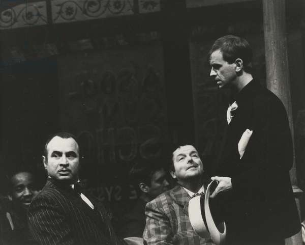 Bob Hoskins as Nathan Detroit, David Healy as Nicely-Nicely Johnson and Ian Charleson as Sky Masterson in 'Guys and Dolls' at the National Theatre, 1982 (b/w photo)