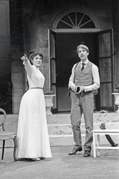 Harriet Walter and Alan Rickman in  Chekhov's The Seagull - directed  by Max Stafford Clark at the Royal Court Theatre, London April 1981