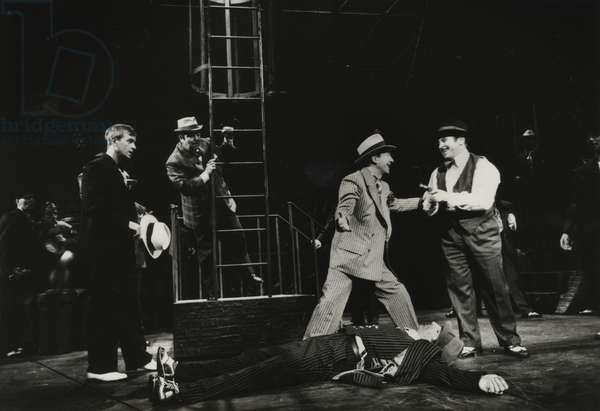 Ian Charleson as Sky Masterson, David Healy as Nicely-Nicely Johnson, Bill Paterson as Harry the Horse and Bob Hoskins as Nathan Detroit in 'Guys and Dolls' at the National Theatre, 1982 (b/w photo)