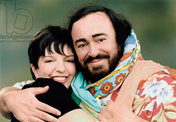 Luciano Pavarotti with friend