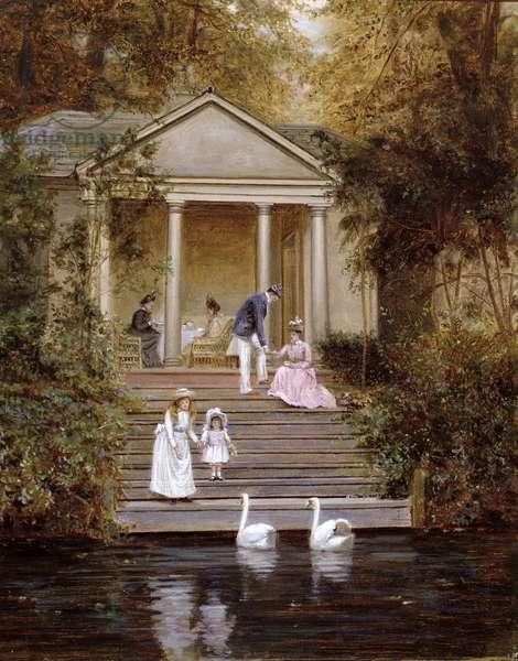 Feeding the Swans, 1889 (oil on canvas)