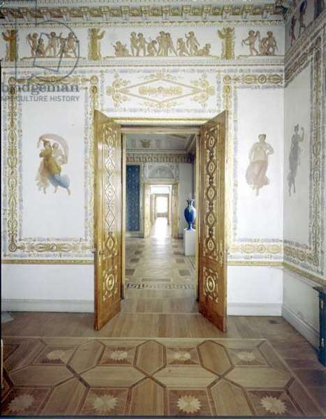 A pair of doors into the Porcelain Room surrounded by painted wall panels by Antonio Vighi (1764-1844) c.1822 (photo) (for detail see 92643)
