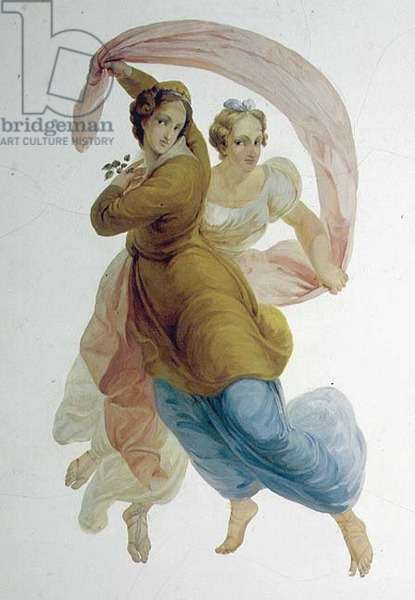 Two Graces, wall panel in the Porcelain Room, c.1822 (painted scagliola) (detail of 92642)