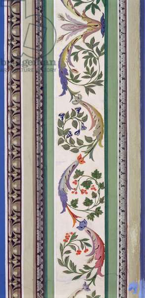 Wall panel border detail of stylised foliage and autumn berries from Catherine the Great's Boudoir (photo) (detail of 92635)