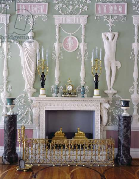 Fireplace and stucco decoration in the Green Dining Room of the First Apartment of the Catherine Palace, designed by Charles Cameron (c.1740-1812) (photo)