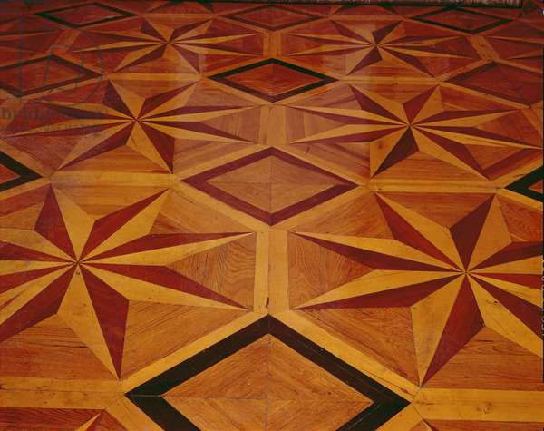 Detail of the inlaid floor in Catherine the Great's suite of rooms, 18th century (wood)