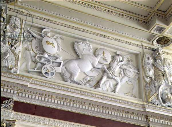 Scene from Homer's Iliad, one of the bas-reliefs above the cornice in the Gala Reception Room, after the designs of John Flaxman (1755-1826)