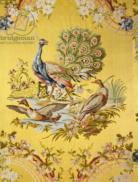 Detail of peacocks and ducks from an embroidered Lyon silk wallcovering from the Choir Ante-Room in the Catherine Palace, designed by Philippe de la Salle (1723-1805) (photo)