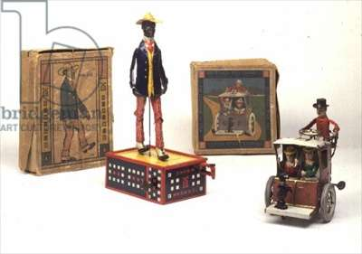 Lehmann mechanical toy, 1910-30 and American mechanical car, early 20th century (tin)