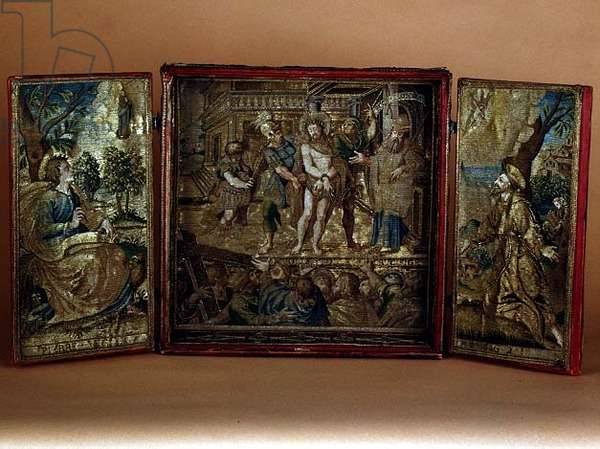 Miniature altarpiece: Ecce Homo, St.Francis and St.John, 1621 (tapestry)