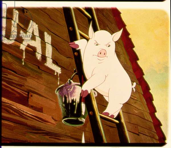 Snowball Paints the Animals' Commandments on the Barn Wall, scene from the 1954 animated film of 'Animal Farm' adapted from the book by George Orwell (1903-50)