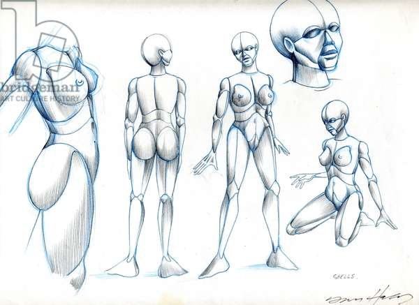Preparatory drawings for the animated sequence 'So Beautiful and So Dangerous', from the film Heavy Metal, c.1981 (coloured pencil on paper)