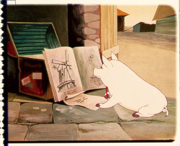 Snowball Plans the Windmill, scene from the 1954 animated film of 'Animal Farm' adapted from the book by George Orwell (1903-50)