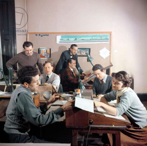 Design team working in the studio on the animated film of 'Animal Farm' adapted from the book by George Orwell (1903-50) (photo)