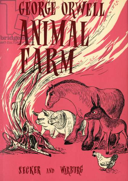 Front cover of 'Animal Farm' by George Orwell (colour litho)