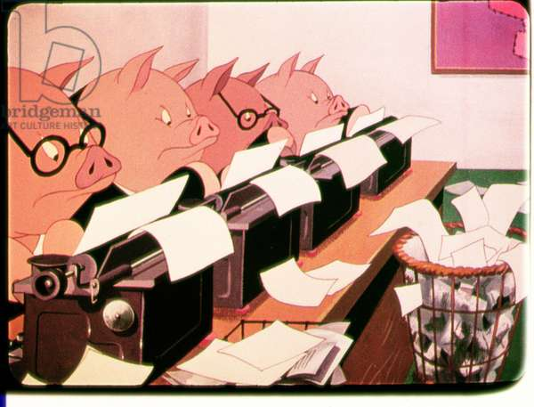Pigs Type, scene from the 1954 animated film of 'Animal Farm' adapted from the book by George Orwell (1903-50)