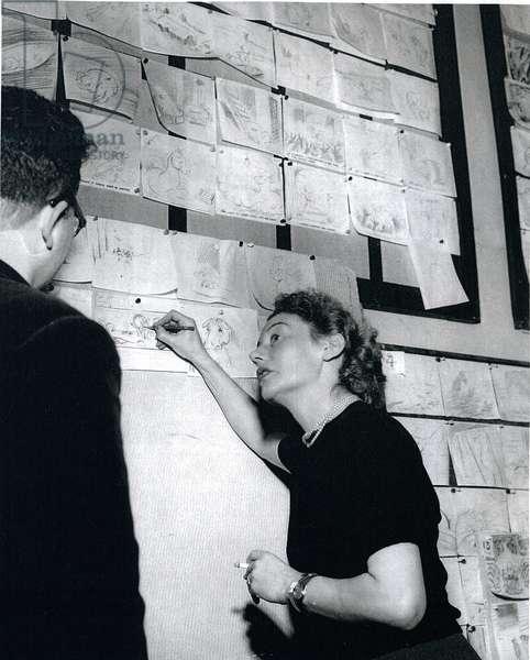 Joy Batchelor working on 'Animal Farm', c.1954 (b/w photo)