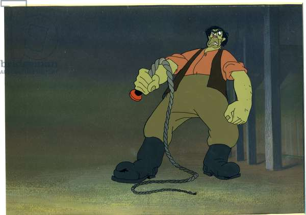 Farmer Jones confronts the animals in the barn with his whip, scene from the animated film of 'Animal Farm' adapted from the book by George Orwell (1903-50), 1954 (animation cel)