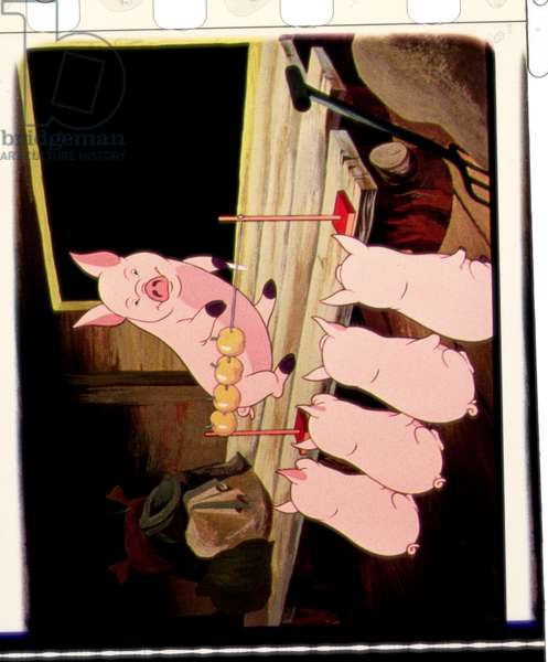 Pigs Learn to Count, scene from the 1954 animated film of 'Animal Farm' adapted from the book by George Orwell (1903-50)