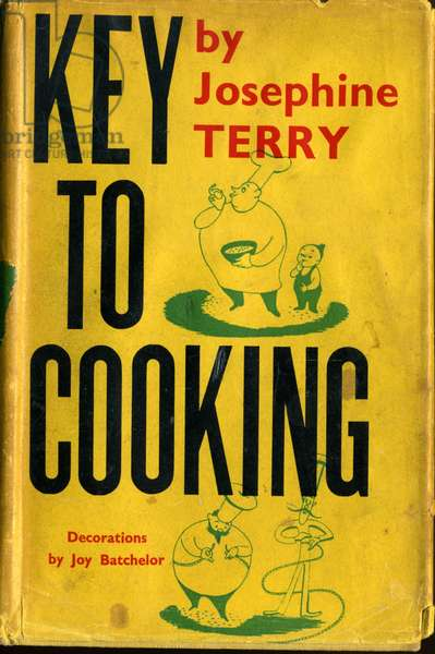 Front cover of 'Key to Cooking' by Josephine Terry, published by Faber and Faber, 1950 (colour litho)