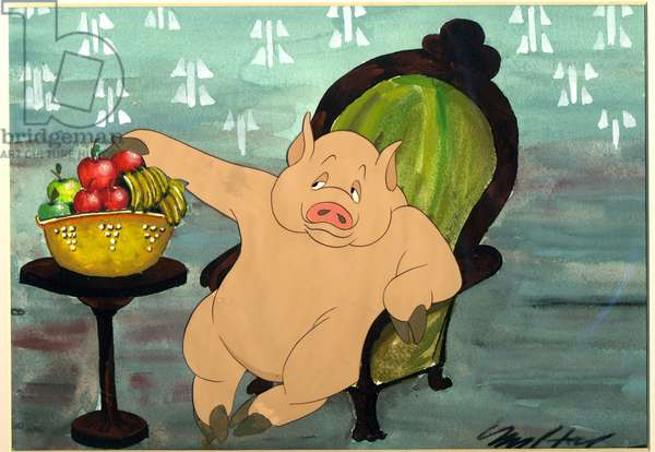 The pigs had plenty while the animals starved, scene from the animated film of 'Animal Farm' adapted from the book by George Orwell (1903-50), 1954 (animation cel)