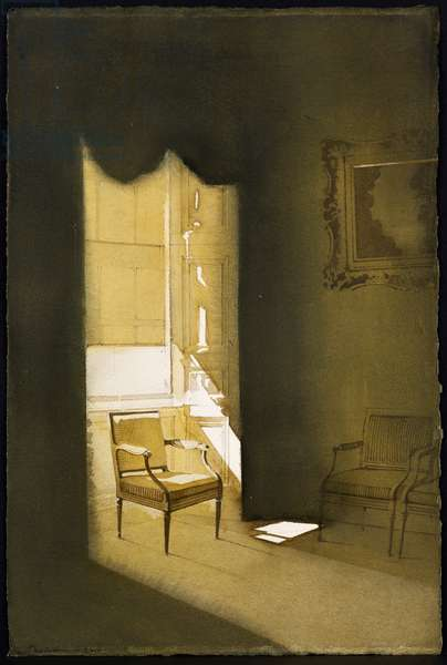Charlotte Square Interior with Chair I (w/c on paper)