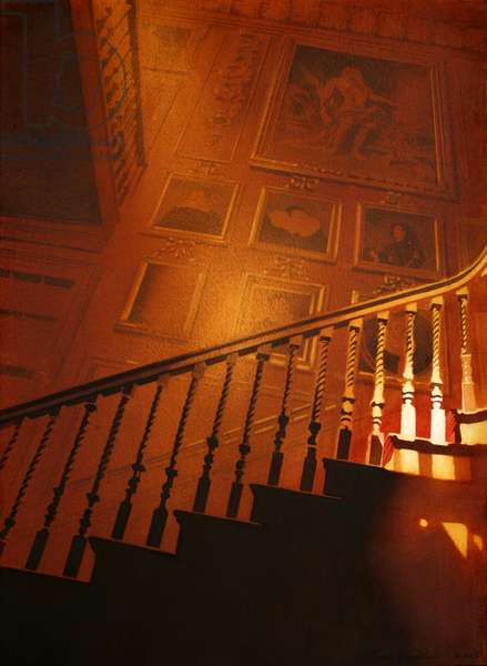 Light on the staircase, Blair Castle (w/c on paper)