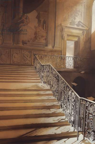 The King's Staircase, Hampton Court, 2006 (w/c on paper)