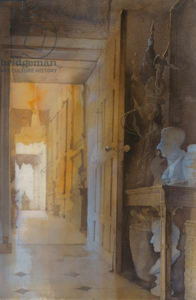 Preparations in the Hall at Petworth (w/c on paper)
