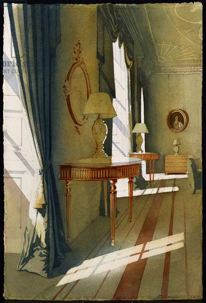 Bute House Interior (w/c on paper)