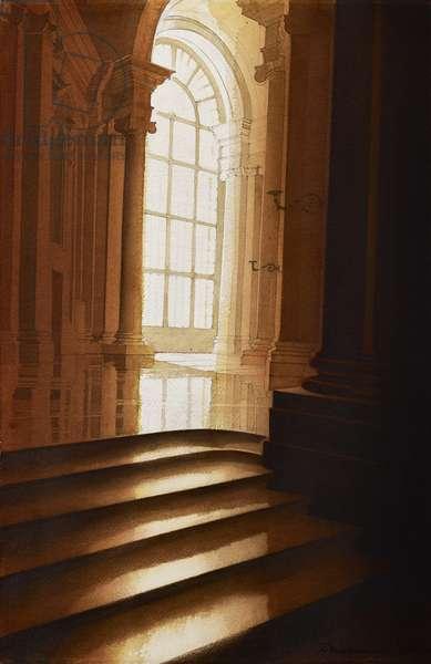 Vanvitelli's staircase, Caserta (w/c on paper)