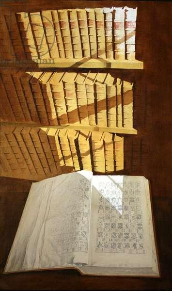 Heraldic Book at Traquair (w/c on paper)