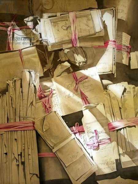 Deed Boxes at Drumlanrig II (w/c on paper)
