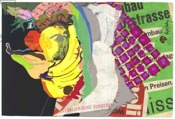 Fruit bowl with pear and bananas, 1980s (mixed media)