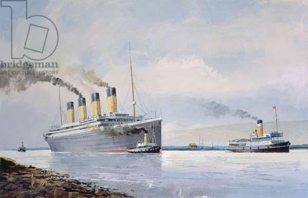 The Titanic Departing from Belfast, 2nd April 1912, 1996 (oil on canvas)