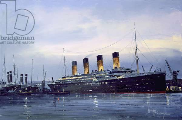The Titanic on the Eve of Departure (oil on canvas)
