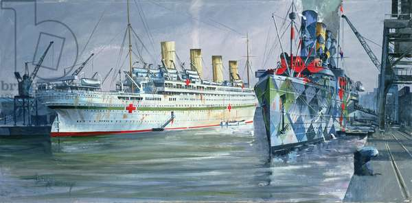 Britannic and Mauretania in Ocean Dock, Southampton, World War I, 1986 (oil on canvas)
