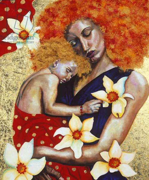 Mother and Child, 2003 (oil with gold leaf on board)