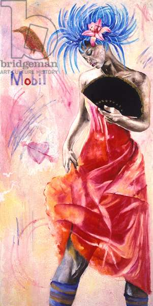Dancer with Graffiti, 2003 (oil with gold leaf on canvas)