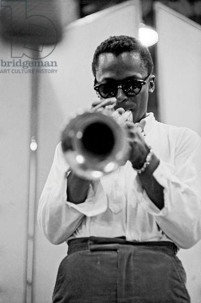 Miles Davis recording at Columbia records for 'Round About Midnight', New York, 1965 (b/w photo)