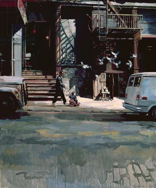 Street Corner in Little Italy, 1989 (oil on canvas)