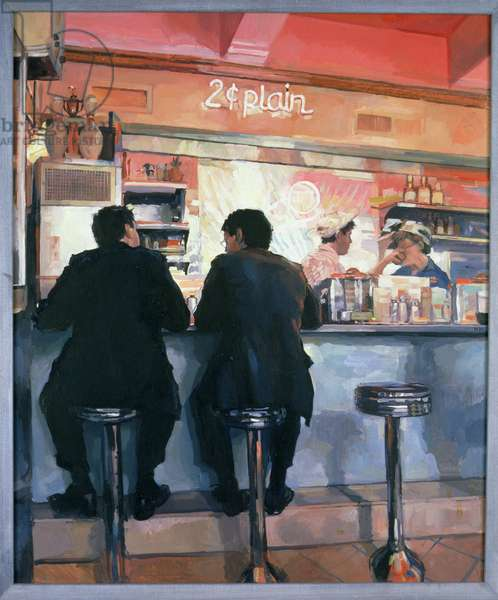 Ice Cream Parlour, New York, 1989 (oil on canvas)