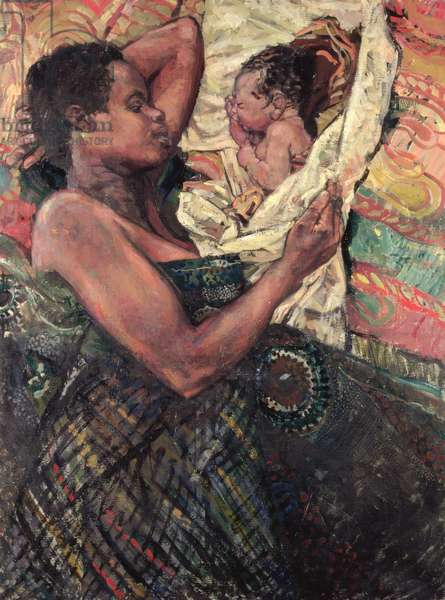 Refugee Mother and Baby, Goma, 1997 (oil on canvas)