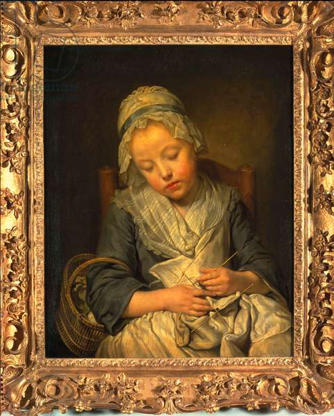 Young Knitter Asleep, c.1759 (oil on canvas)