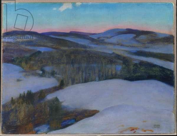 Snow Bound - Dawn, 1915 (oil on canvas board)