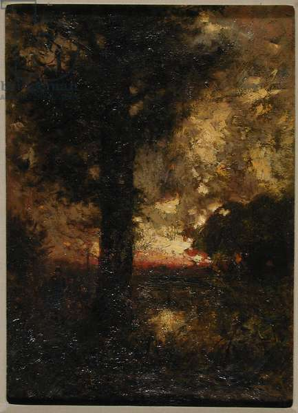 Landscape with figure, c.1890 (oil on canvas)